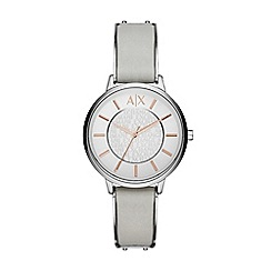 Armani Exchange - Ladies grey and rose gold 3 hand date watch