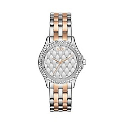 Armani Exchange - Ladies silver and rose gold 3 hand date watch