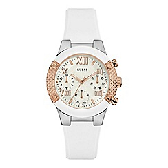 Guess - Ladies white silicone watch with rose gold details