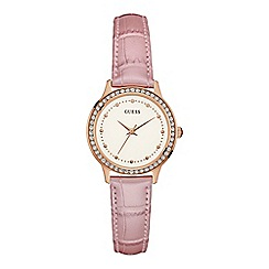 Guess - Ladies watch with a light pink leather strap and crystal detailing