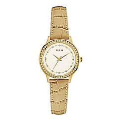 Guess - Ladies tan crocodile leather watch strap with crystal detailing