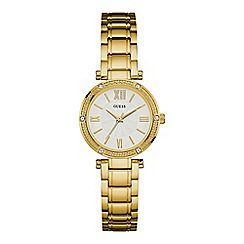 Guess - Ladies gold bracelet watch with crystal detailing w0767l2