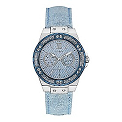 Guess - Ladies watch with a blue denim strap, denim dial and crystal details