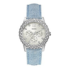 Guess - Ladies watch with a blue denim strap, white dial and crystal detailing