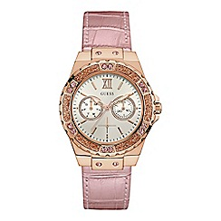 Guess - Ladies rose gold watch with a light pink leather strap and crystal detailing