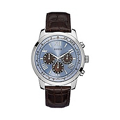 Guess - Mens brown crocodile leather strap watch with a blue dial w0380g6