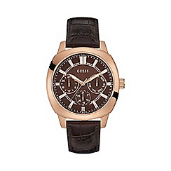 Guess - Men's rose gold watch with a brown leather strap