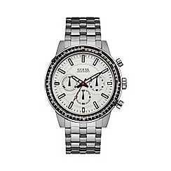 Guess - Mens silver watch with a white dial w0801g1