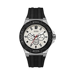 Guess - Mens watch with a black silicone strap and white dial w0674g3