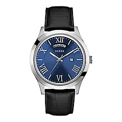 Guess - Men's black crocodile leather watch with a blue dial