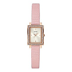 Guess - Ladies light pink leather strap watch with crystal detailing