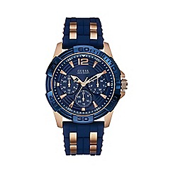 Guess - Men's blue textured silicone strap watch