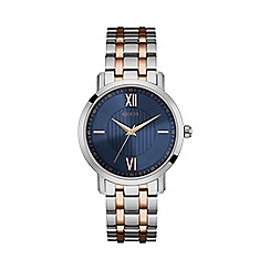Guess - Men's silver and rose gold watch with blue dial
