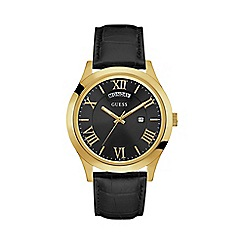 Guess - Men's black crocodile leather watch with a gold case