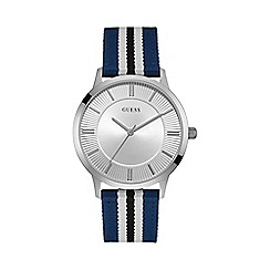 Guess - Men's silver watch with a smooth blue and black striped canvas strap