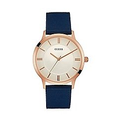 Guess - Men's watch with blue strap and rose gold case
