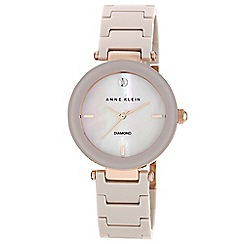 Anne Klein - Ladies mink ceramic diamond watch
