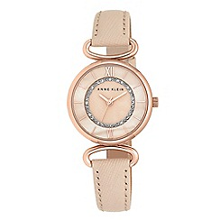 Anne Klein - Ladies pink saffiano leather strap watch