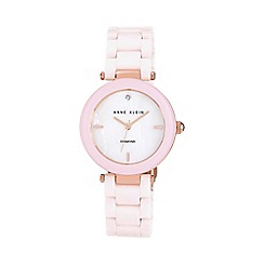 Anne Klein - Ladies pink ceramic diamon watch