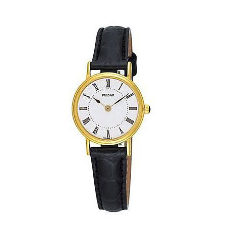 Pulsar - Ladies white face gold plated dial with black leather strap