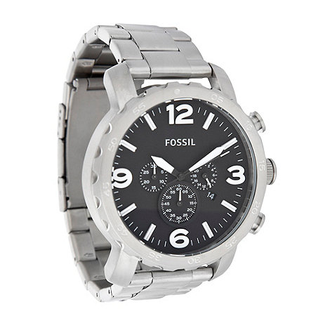 Fossil - Men+s silver large dial watch