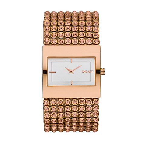 DKNY - Ladies rose rectangular diamante strap watch