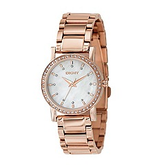 DKNY - Ladies rose diamante case watch