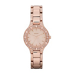 DKNY - Ladies rose crystal patterned case watch