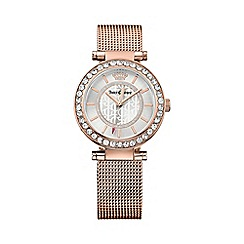 Juicy Couture - Ladies rose gold plated Cali mesh strap crystal set watch