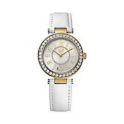Juicy Couture - Ladies gold Cali white leather strap crystal set watch