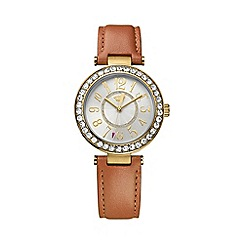 Juicy Couture - Ladies gold Cali tan leather strap crystal set watch