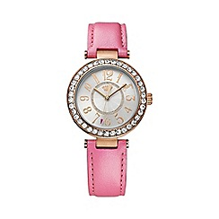 Juicy Couture - Ladies rose gold Cali pink leather strap crystal set watch