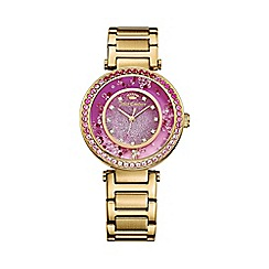 Juicy Couture - Ladies gold plated Cali pink crystal glitter dial watch