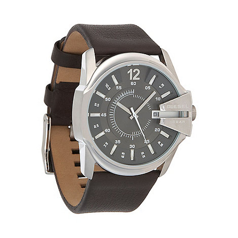 Diesel - Men+s +Master Chief+ gunmetal dial brown strap watch dz1206
