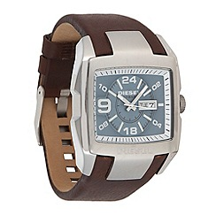 Diesel - Men's 'Bugout' blue dial brown leather strap watch
