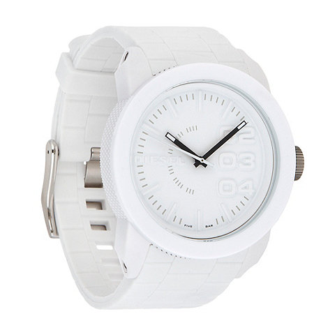 Diesel - Men+s white rubber strap watch