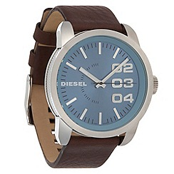 Diesel - Men's brown oversize dial leather strap watch
