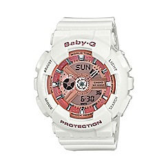 Casio - Ladie's white and rose gold 'Baby-G' watch