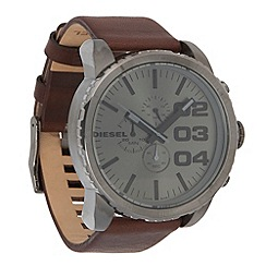 Diesel - Men's large round leather strap watch