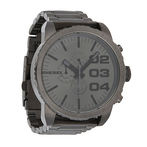Diesel - Men+s large round gun metal watch