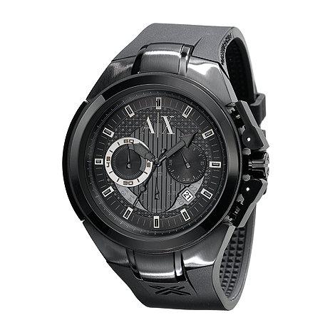 Armani Exchange - Men+s black round dial watch