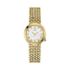Bulova - Ladies gold 'Diamond' fluid link watch