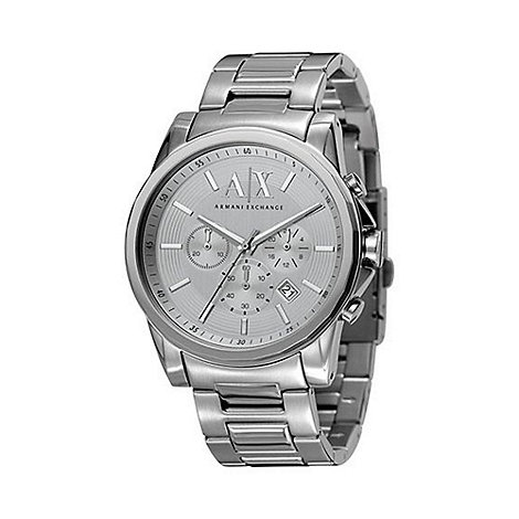 Armani Exchange - Men+s silver round dial multi function watch ax2058