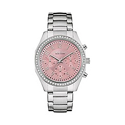 Caravelle New York - Ladies pink 'Melissa' stone bezel watch 43l191
