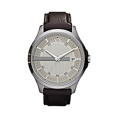 Armani Exchange - Men's brown analogue dial leather strap watch ax2100