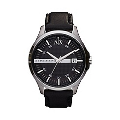 Armani Exchange - Men's black leather strap watch