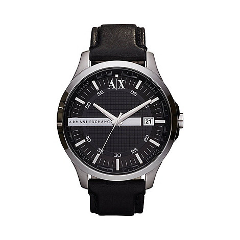 Armani Exchange - Men+s black leather strap watch