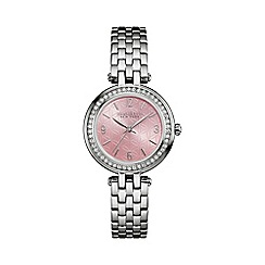 Caravelle New York - Ladies blush dial stone bezel watch 43l193