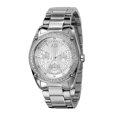 Armani Exchange - Ladies silver embellished round dial watch
