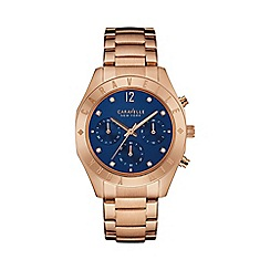 Caravelle New York - Ladies rose gold 'Boyfriend' engraved bezel watch 44l192